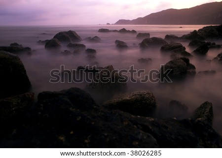 Mystic rocks in the ocean