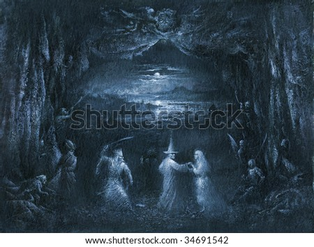 Mystic scene. Made by acrylic on paper. - stock photo
