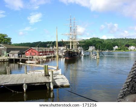 Mystic Seaport - Port - stock photo