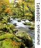 mystical dartmoor river - stock photo