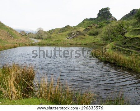 Mystical location known as the Fairy Glen on The Isle of Skye - stock photo