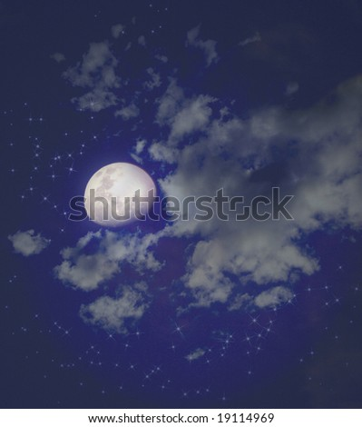 Mystical Moon with clouds and stars