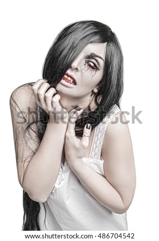Mystical terrible ghost woman portrait isolated on white