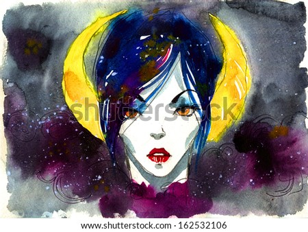mythical woman portrait on starry night sky - stock photo
