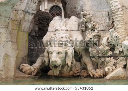 Mythological monster in Navona Square, Rome - stock photo