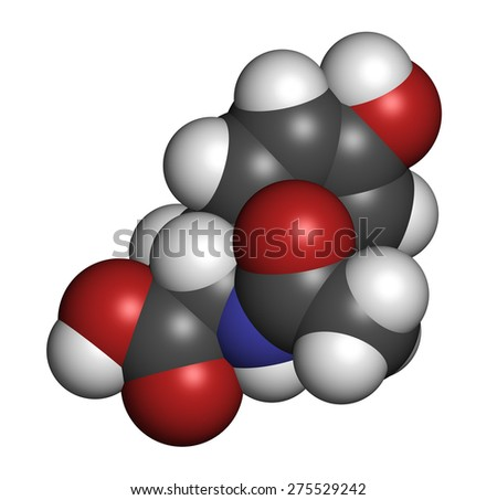 N-acetyl-tyrosine (NALT) molecule. Acetylated form of the amino acid tyrosine. Atoms are represented as spheres with conventional color coding: hydrogen (white), carbon (grey), oxygen (red), etc  - stock photo