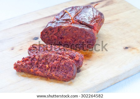 N'duia calabrese salami with ground pork Italy - stock photo