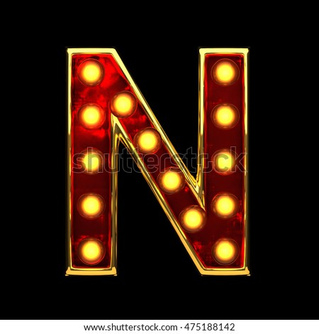 n isolated golden letter with lights on black. 3d illustration