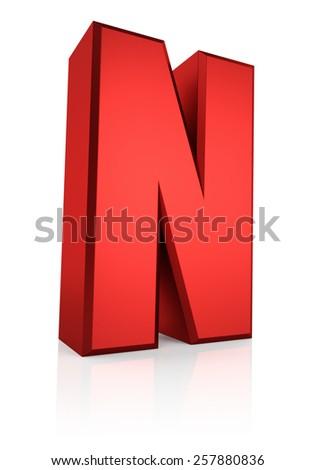 N letter. Red letter on reflective floor. White background. 3d render - stock photo