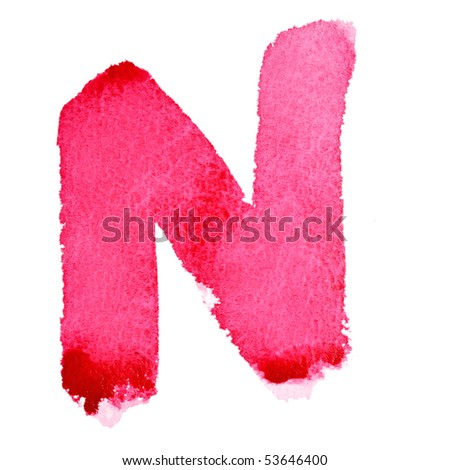 N - Watercolor letters isolated over the white background
