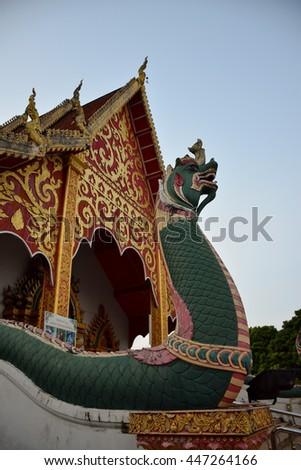 Na-ga statue in temple at Nan, northern of Thailand   - stock photo