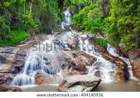 Na Muang 2 waterfall, Koh Samui, Thailand - stock photo