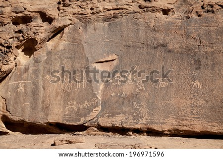 Nabataean old text in Wadi Rum desert - stock photo