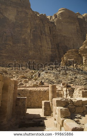 Nabatean Temple in Wadi Rum, Jordan - stock photo