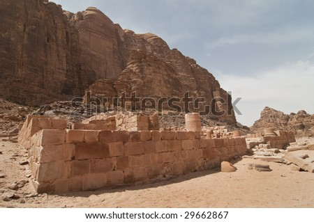 Nabatean temple in Wadi Rum - Jordan, Middle East - stock photo