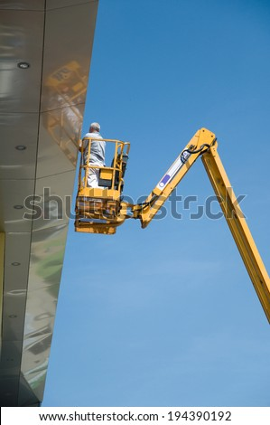 nacelle workers - stock photo