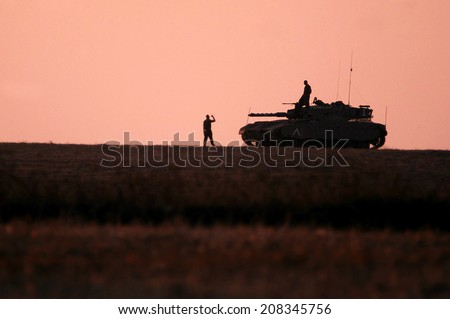 NACHAL OZ,ISR - JULY 01 2006:Merkava Tank.It's new fire-control system enables to shoot down helicopters such as the Russian Mil Mi-24 and the French Gazelle that in use by Israel's neighbors. - stock photo