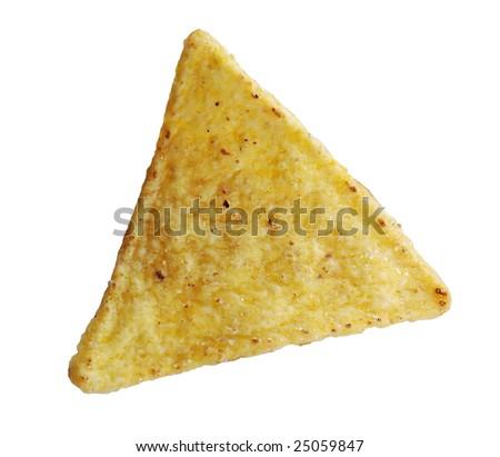 Nacho chip isolated on white background - stock photo