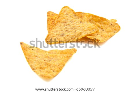 Nacho chips with chili isolated over white - stock photo