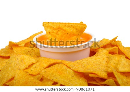 nachos and cheese sauce isolated on white background - stock photo