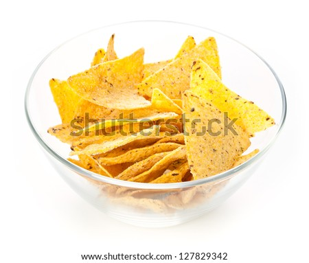 Nachos chips in Glass bowl on white background