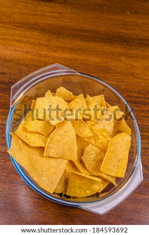 nachos ready to serve in a bowl. - stock photo