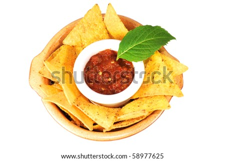nachos with salsa isolated on white