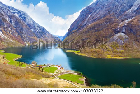 Naeroyfjord - fjord landscape in Sogn og Fjordane region. - stock photo