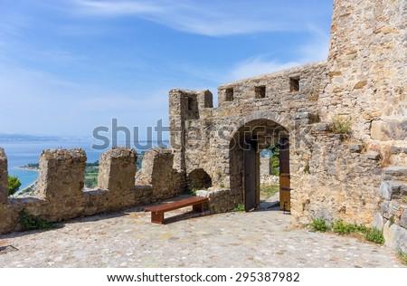 Nafpaktos Castle gate, Greece - stock photo