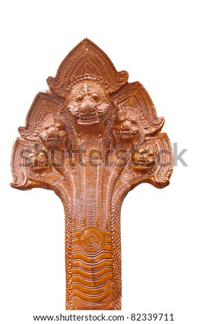 Naga head Thai sculpture made from glazed tile, in Thailand Temple - stock photo