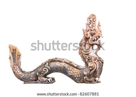 Naga Thai sculpture, in Thailand Temple isolate on white - stock photo