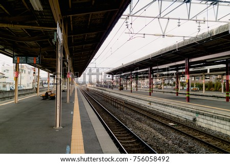 Nagano Japan, Dec 06: After all electric trains departure from Shiojiri Station, No everyone on the platform on December 06, 2016 in Nagano Prefecture, Japan