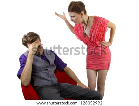 nagging girlfriend.  isolated on a white background. - stock photo