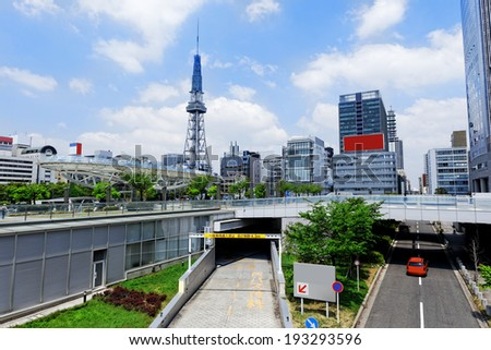 Nagoya downtown traffic day, Japan city skyline with Nagoya Tower daytime - stock photo