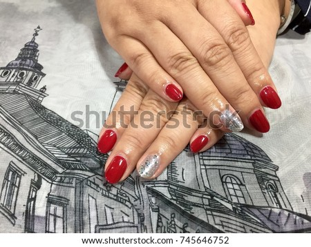 Nail Art Designs Red Silver Glitter Stock Photo Edit Now 745646752