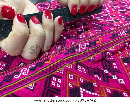 Nail art designs red nail polish stock photo 750954742 shutterstock nail art designs red nail polish nail art christmas manicure designseasy prinsesfo Images