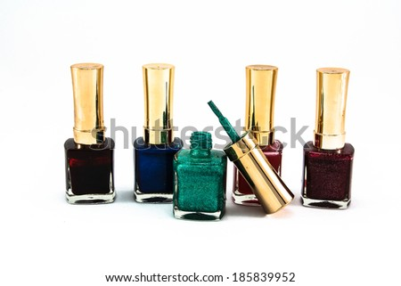 nail color bottle on white background