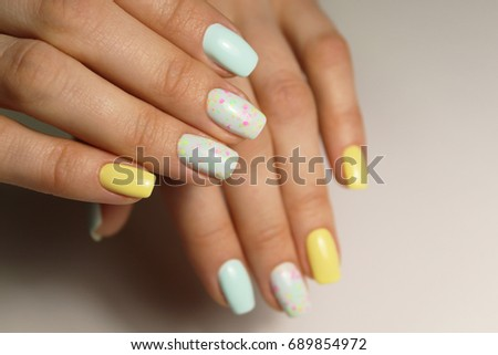 Nail Design Different Color Stock Photo Royalty Free 689854972