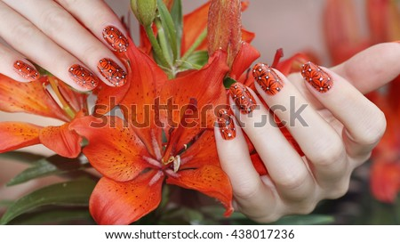 Elena gramas portfolio on shutterstock nail design manicure nail paint beautiful female hand with colorful nail art design manicure prinsesfo Gallery