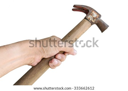 Nail hammer in hand isolated on white background.