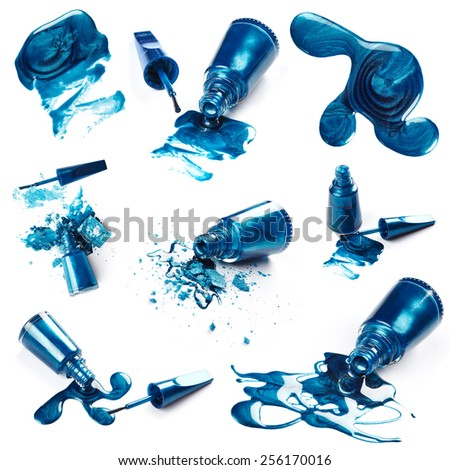 Nail polish and crushed eye shadow isolated on white background - stock photo