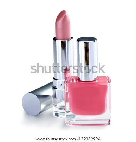 nail polish and lipstick  on white background