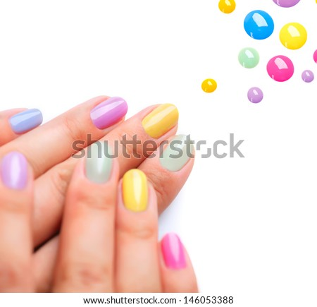 Nail polish art manicure multicolored nail stock photo 146053388 nail polish art manicure multi colored nail polish beauty hands stylish prinsesfo Images