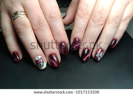 Nail Polish Design Cats Eye Stock Photo 1017153508 Shutterstock