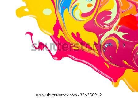 Nail polish, paint spills isolated on white - stock photo