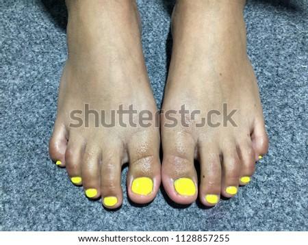 Nails Art Beautiful Womans Yellow Nails Stock Photo Royalty Free