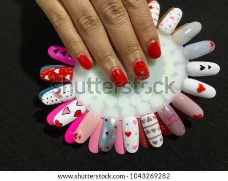 Nail art designs silver glittery accent stock photo 752687563 nails artight red manicure with gold glitter designsylish manicure and nail art prinsesfo Image collections