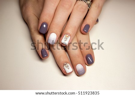 Nails Beautiful French Manicure Crystals On Stock Photo (Royalty ...