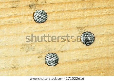 Nails. Heads in wood. Top view - stock photo