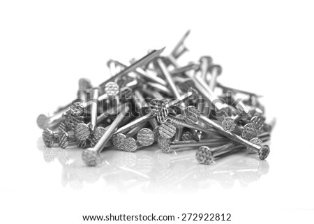 Nails on white bacground - close-up - stock photo